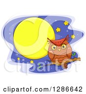 Clipart Of A Perched Brown Owl Over A Night Sky With Stars And A Full Moon Royalty Free Vector Illustration