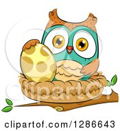 Clipart Of A Brown And Turquoise Owl With An Egg In A Nest Royalty Free Vector Illustration by BNP Design Studio