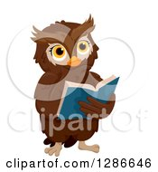 Clipart Of A Brown Owl Thinking And Reading A Book Royalty Free Vector Illustration
