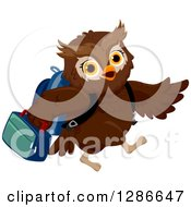 Clipart Of A Brown Owl Student Walking To School And Carrying A Lunch Box Royalty Free Vector Illustration