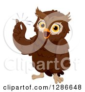 Clipart Of A Smart Brown Owl Snapping His Fingers With An Idea Royalty Free Vector Illustration