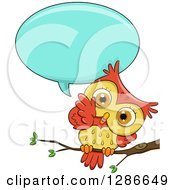 Clipart Of A Cute Orange And Yellow Owl Perched On A Branch Talking And Tilting His Head Royalty Free Vector Illustration