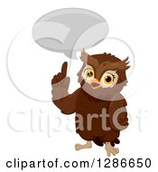 Clipart Of A Smart Brown Owl Talking And Holding Up A Finger Royalty Free Vector Illustration