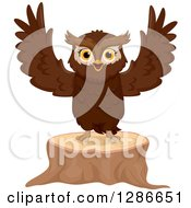 Clipart Of A Brown Owl Welcoming And Standing On A Tree Stump Royalty Free Vector Illustration
