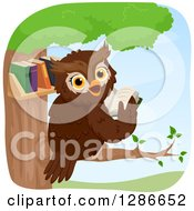 Happy Brown Owl Looking Back And Reading In A Tree Library