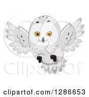Clipart Of A Snowy Owl Flying Royalty Free Vector Illustration by BNP Design Studio