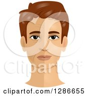 Clipart Of A Brunette White Mans Face Shown Pre And Post A Face Lift Cosmetic Plastic Surgery Royalty Free Vector Illustration by BNP Design Studio