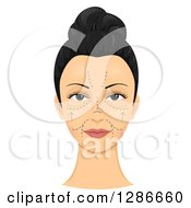 Womans Face Shown With Pre-Surgical Cosmetic Incision Marks