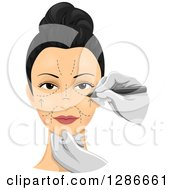 Surgeons Hands Drawing Incision Marks On A Womans Face