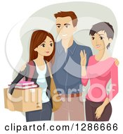 Clipart Of Happy Parents Sending Their Daughter Off To College Royalty Free Vector Illustration