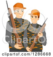 Clipart Of A Caucasian Father And Son Hunting Together Royalty Free Vector Illustration