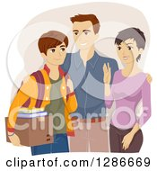 Clipart Of Happy Parents Sending Their Son Off To College Royalty Free Vector Illustration