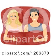 Clipart Of A Happy Blond White Woman And Asian Man In Bed Together Royalty Free Vector Illustration
