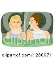 Clipart Of A Brunette White Man Snoring Into A Blond Womans Ear Royalty Free Vector Illustration