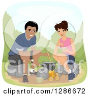 Clipart Of A Happy Brunette White Woman And Black Man Couple Cooking Over A Campfire Royalty Free Vector Illustration