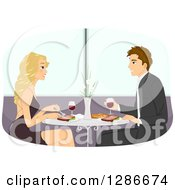 Happy Blond White Woman And Brunette Man Having Wine And Steak At A Fine Dining Restaurant
