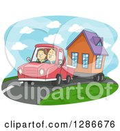 Cartoon Caucasian Couple Driving And Towing A Tiny House