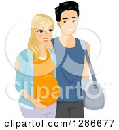 Clipart Of A Happy Blond White Pregnant Woman And Her Asian Husband Walking Royalty Free Vector Illustration