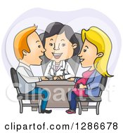 Clipart Of A Happy Female Asian Ob Gyne Doctor And Caucasian Parents In A Meeting Royalty Free Vector Illustration