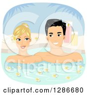 Clipart Of A Happy Blond White Woman And Asian Man Couple Soaking In A Fragrant Outdoor Bath Royalty Free Vector Illustration