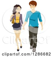 Clipart Of A Happy Young Caucasian Teenage Couple Walking And Holding Hands Royalty Free Vector Illustration