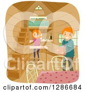 Clipart Of A Happy Red Haired Caucasian Stick Couple Unloading Groceries In Their Tiny House Royalty Free Vector Illustration by BNP Design Studio