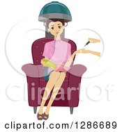 Young Brunette White Woman Reading A Magazine Getting A Manicure And Sitting In A Hair Dryer