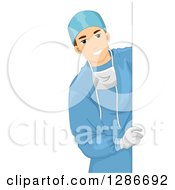 Young Brunette White Male Doctor Surgeon Looking Around A Sign