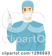 Young Male Doctor Surgeon Holding An Injection Or Syringe
