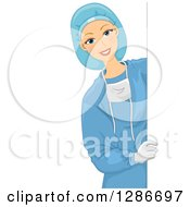 Happy Young White Female Doctor Surgeon In Scrubs Looking Around A Sign