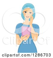 Clipart Of A Happy Young White Female Patient In Scrubs Looking At Her Newly Reconstruction Face In A Mirror Royalty Free Vector Illustration by BNP Design Studio