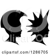Clipart Of Grayscale Profiled Heads With Mohawks And Piercings Royalty Free Vector Illustration