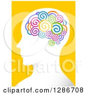 White Mans Head In Profile With Colorful Spirals In His Brain Over Yellow