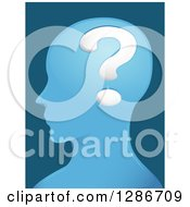 Clipart Of A Blue Male Head In Profile With A Big Question Mark In His Brain Royalty Free Vector Illustration by BNP Design Studio