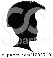 Clipart Of A Grayscale Profiled Mans Head With A Mohawk And Piercings Royalty Free Vector Illustration