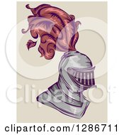 Clipart Of A Medieval Knight Helmet With Feathers Royalty Free Vector Illustration
