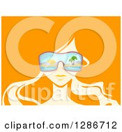 Clipart Of A Womans Face With Beach Sunglasses And Long Hair On Orange Royalty Free Vector Illustration