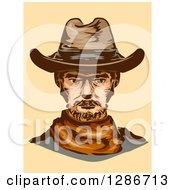 Clipart Of A Portrait Of A Middle Aged Cowboy On Pastel Orange Royalty Free Vector Illustration