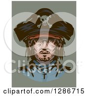 Clipart Of A Portrait Of A Male Pirate Over Green Royalty Free Vector Illustration