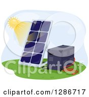Clipart Of A Sun Shining On A Solar Panel And Battery Royalty Free Vector Illustration by BNP Design Studio