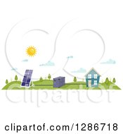 Clipart Of A Sun Shining Over A Solar Panel Battery And House Royalty Free Vector Illustration