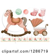 Clipart Of Vintage Baby Toys Socks Floral Border A Carriage And Rocking Horse Royalty Free Vector Illustration by BNP Design Studio