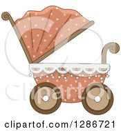 Clipart Of A Pink And Floral Baby Carriage Pram Royalty Free Vector Illustration