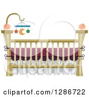 Baby Crib With A Star And Moon Mobile