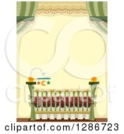 Clipart Of A Baby Crib With A Star And Moon Mobile In A Green And Yellow Room Royalty Free Vector Illustration