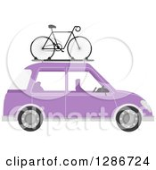 Clipart Of A Bicycle Mounted On Top Of A Purple Car Royalty Free Vector Illustration