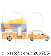 Clipart Of A Compact Orange Car Towing A Mobile House Royalty Free Vector Illustration