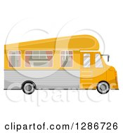 Clipart Of A Yellow Trailer Home Vehicle Royalty Free Vector Illustration by BNP Design Studio