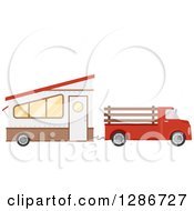 Clipart Of A Red Pickup Truck Towing A Trailer House Royalty Free Vector Illustration by BNP Design Studio