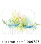Clipart Of A Watercolor Of Love Virds On Branches Royalty Free Vector Illustration by BNP Design Studio